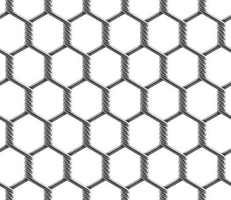 Seamless pattern of hexagonal reinforced large cell chain link fence. Vector illustration of metal wire mesh isolated on a white background. Ilustração