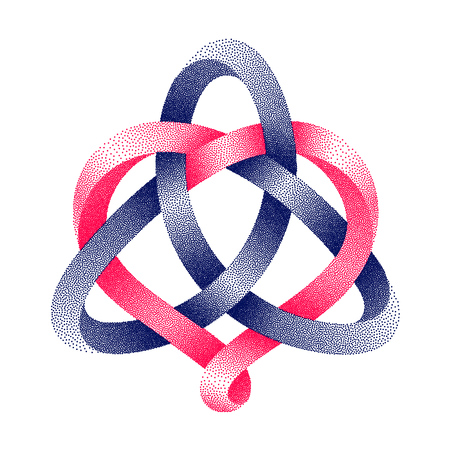 Triquetra celtic knot with heart sign made of intertwined stippled mobius strips.. Harmonic love symbol. Vector illustration isolated on a white background.