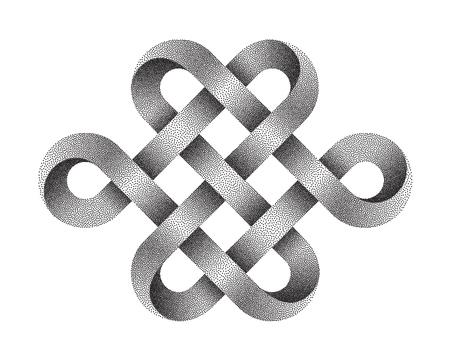 Stippled  Endless knot. Traditional buddhist symbol. Vector illustration isolated on white background.