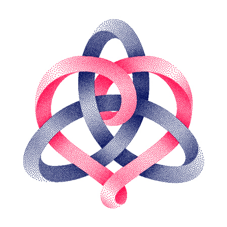 Triquetra celtic knot with heart sign made of intertwined stippled mobius strips.. Unity in love symbol. Vector illustration isolated on a white background.