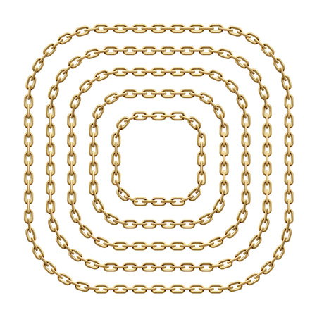 Set of square frames with rounded corners made of golden chains. Vector template illustration for banners, flyers, invitations or greeting cards isolated on white background.