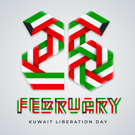 Greeting card for 26 February, the day of liberation of Kuwait. Text made of interlaced ribbons with Kuwait flag colors. Vector illustration.