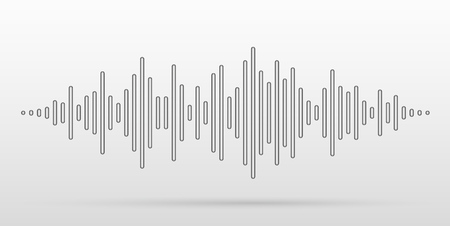 Sound waves stylized with convex sticks. Music equalizer visual effect. Vector illustration.