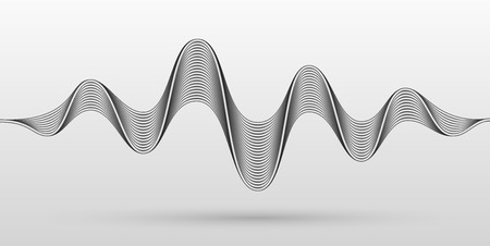 Abstract sound waves stylized with bended metallic stripes. Dynamic equalizer visual effect. Vector illustration. Ilustração