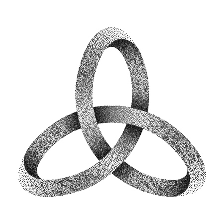 Stippled knot Triquetra. Ancient celtic trinity symbol made of mobius strip. Vector textured illustration isolated on white background. Ilustração