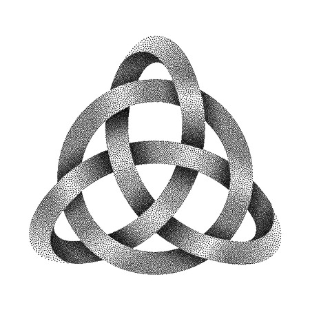 Stippled knot Triquetra with circle. Ancient celtic trinity symbol made of mobius strip. Vector textured illustration isolated on white background.