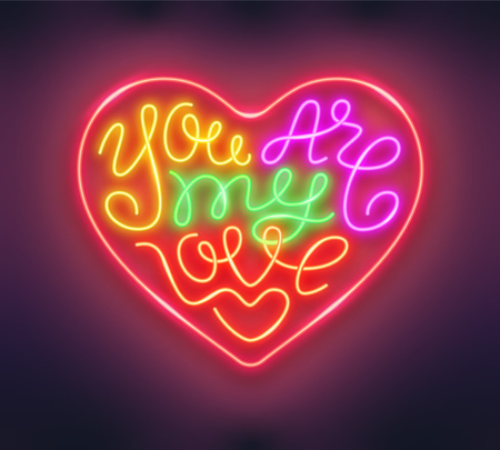 Heart shaped phrase You Are My Love made of neon tubes. Glowing handwritten lettering romantic design. Vector illustration. Ilustração