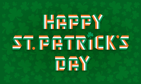 Happy Saint Patrick Day greeting card with text made of interlaced Irish flag color ribbons over clover leaves background. Vector illustration. Ilustração