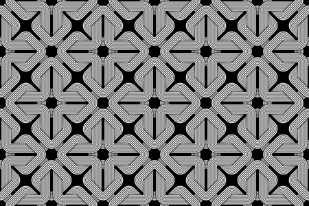 Seamless pattern of woven square shaped wires. Vector repeating geometric background. Ilustração