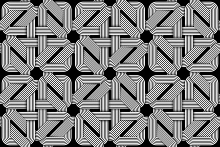 Seamless pattern of weaved square shaped wires. Vector repeating geometric background.