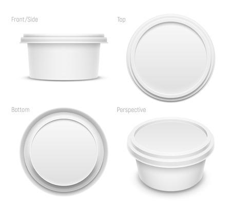 Contenitore rotondo bianco vettoriale per burro, formaggio fuso o margarina spalmabile. Viste superiore, inferiore, anteriore e prospettica isolate su sfondo bianco. Illustrazione di mockup di imballaggio.