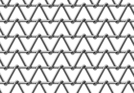 Seamless pattern of a fence with triangular cells. Vector realistic illustration of metal wire lattice isolated on a white background. Ilustração