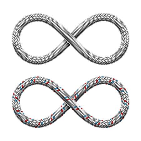 Signe d'infini fait de tuyau hydraulique ou de câble blindé tressé. Symbole de bande illimitée. Illustration réaliste de vecteur isolé sur fond blanc. Vecteurs