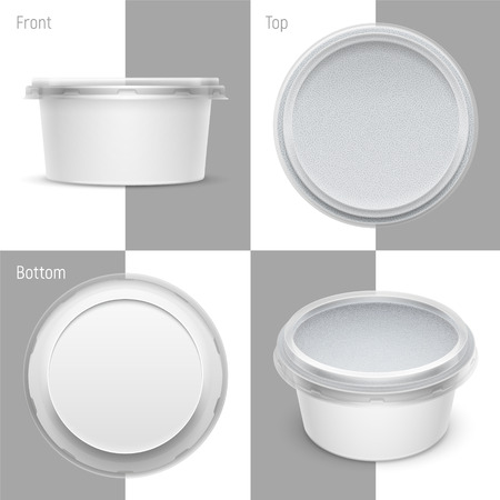 Vector white round plastic container with foil and transparent lid for cosmetics cream, butter or margarine spread. Set of top, bottom, front and perspective views. Packaging template illustration. Ilustração