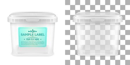 Cubo de plástico vacío cuadrado transparente de vector con etiqueta para almacenamiento de productos alimenticios, mantequilla o helado. Vista frontal. Ilustración de maqueta de embalaje. Ilustración de vector