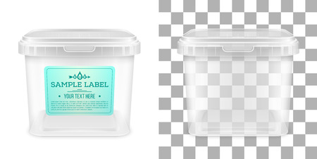 Vector transparent square empty plastic bucket with label for storage of foodstuff, butter or ice cream. Front view. Packaging mockup illustration.