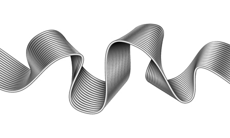 Abstract curved line made of metal ribbon. Mobius stripe wave. Vector illustration isolated on white background.