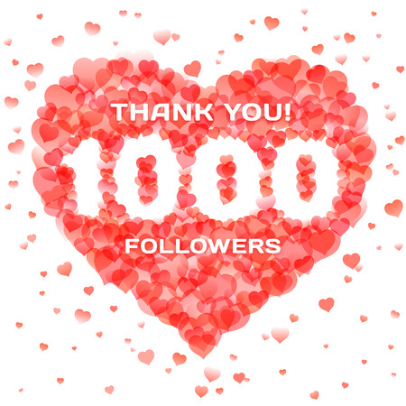 Banner in thanks for 1000 followers for social network. Number within heart shape design template. Vector illustration for social media marketing.