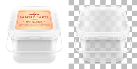 Transparent square empty plastic bucket with label for storage of foodstuff, butter, paint or plaster. Top view. Vector packaging mockup illustration.