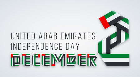 Ð¡ongratulatory design for 2 December, UAE Independence Day. Text made of interlaced ribbons with United Arab Emirates flag colors. Vector illustration.
