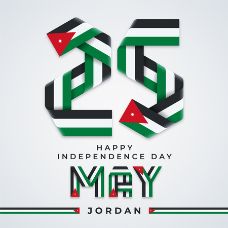 Ð¡ongratulatory design for 25 May, Jordan Independence Day. Text made of bended ribbons with Jordan flag colors. Vector illustration.