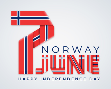 Сongratulatory design for 7 June, Norway Independence Day. Text made of bended ribbons with Norwegian flag colors. Vector illustration.