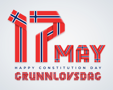 Ð¡ongratulatory design for 17 May, Norway Constitution Day. Text made of bended ribbons with Norwegian flag colors. Translation of Norwegian inscription: Constitution Day. Vector illustration. Ilustração