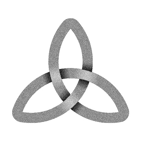 Stippled knot Triquetra. Ancient celtic trinity symbol made of intersected strip. Vector textured illustration isolated on white background.