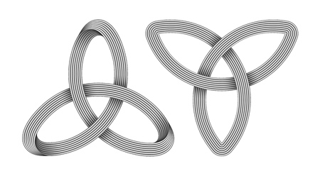 Set of 2 Triquetra knots made of intersected silver strips. Celtic trinity symbol. Vector realistic illustration isolated on white background.