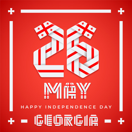 Congratulatory design for 26 May, Georgia Independence Day. Text made of bended ribbons with Georgian flag colors. Vector illustration. Ilustração