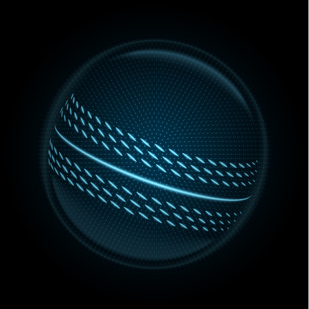 Vector image of a cricket ball made of illuminated shapes. Illustration consisting glowing lines, points and polygons. Abstract 3D neon wireframe concept.