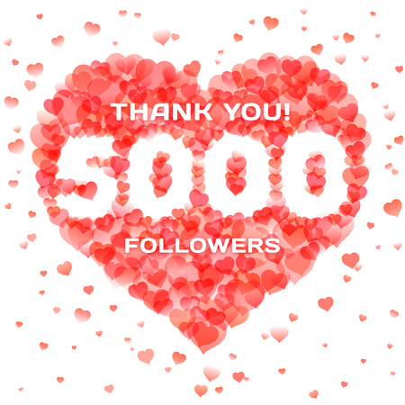 Banner in thanks for 5000 followers for social network. Number within heart shape design template. Vector illustration for social media marketing.
