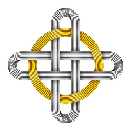 Ringed cross made of intersected golden and silver strips. Celtic knot with circle symbol. Vector illustration isolated on white background.