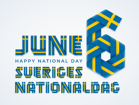 Congratulatory design for June 6, Sweden National Day. Text made of bended ribbons with Swedish flag colors. Translation of Swedish inscription: National Day of Sweden. Vector illustration. Ilustração
