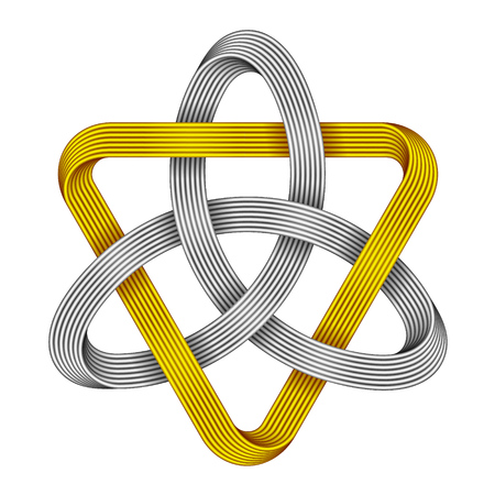 Knot Triquetra with triangle made of intersected golden and silver strips. Celtic trinity symbol. Vector realistic illustration isolated on white background.