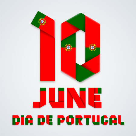 Congratulatory design for June 10, Portugal National Day. Text made of bended ribbons with Portuguese flag colors. Translation of Portuguese inscription: Portugal day. Vector illustration.