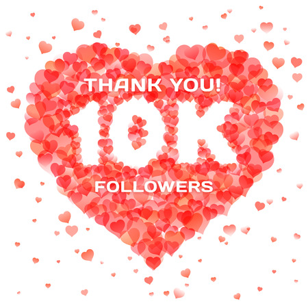 Banner in thanks for 10K followers for social network. Text within heart shape design template. Vector illustration for social media marketing.