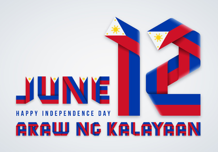 Congratulatory design for June 12, Philippines Independence Day. Text made of bended ribbons with Philippine flag colors. Translation Philippine inscription: Independence Day. Vector illustration. 矢量图像
