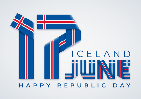 Congratulatory design for June 17, Republic Day of Iceland. Text made of bended ribbons with Icelandic flag elements. Vector illustration. Ilustração