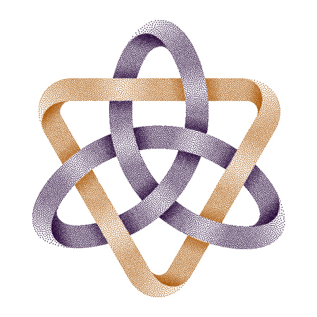Stippled knot Triquetra with triangle . Ancient celtic trinity symbol made of mobius strips. Vector textured illustration isolated on white background. Illustration