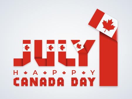 Design di congratulazioni per il 1 luglio, giorno del Canada. Testo composto da nastri piegati con elementi della bandiera canadese. Illustrazione vettoriale.