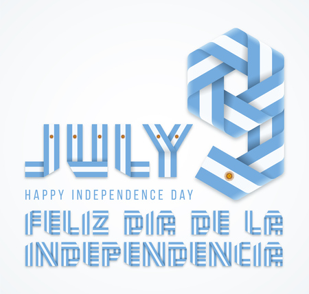 Congratulatory design for July 9, Argentina Independence Day. Text made of bended ribbons with Argentinean flag elements. Translation of Spanish inscription: Happy Independence day. Vector illustration.
