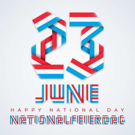Congratulatory design for June 23, Luxembourg National Day. Text made of bended ribbons with Luxembourgish flag colors. Translation of Luxembourgish inscription: National Day. Vector illustration.