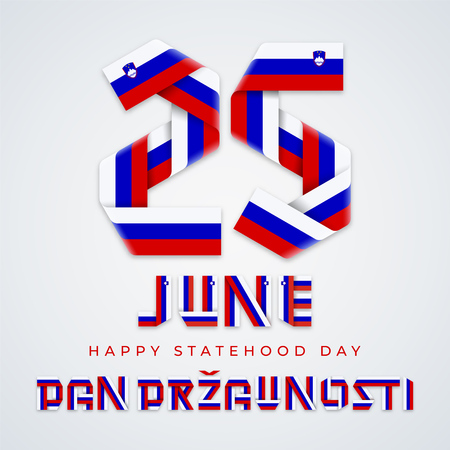 Congratulatory design for June 25, Slovenia Statehood Day. Text made of bended ribbons with Slovenian flag elements. Translation of Slovenian inscription: Statehood Day. Vector illustration.