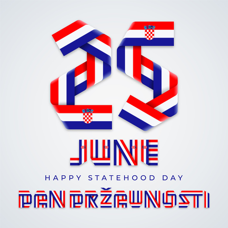 Congratulatory design for June 25, Croatia Statehood Day. Text made of bended ribbons with Croatian flag elements. Translation of Croatian inscription: Statehood Day. Vector illustration.