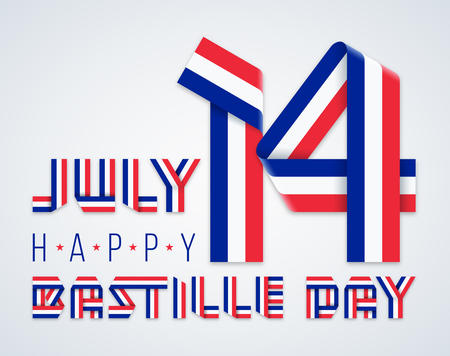 Congratulatory design for July 14, France National Day - Bastille day. Text made of bended ribbons with French flag colors. Vector illustration.