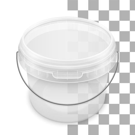 Transparent round empty plastic bucket with metallic handle for storage of foodstuff, butter, paint or plaster. Top view. Vector packaging mockup illustration.