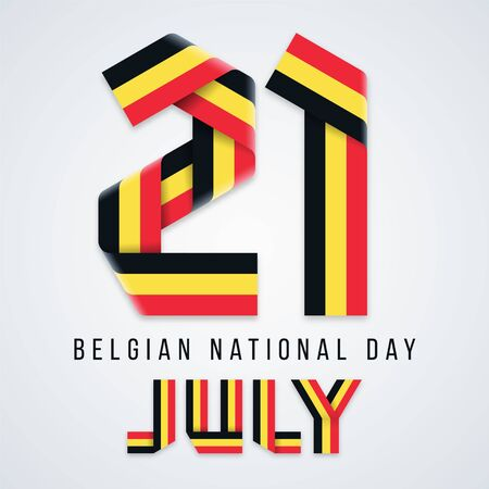 Congratulatory design for July 21, Belgium National Day. Text made of bended ribbons with Belgian flag colors. Vector illustration. Ilustração