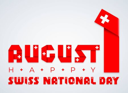Congratulatory design for August 1, Swiss National Day. Text made of  ribbons with Switzerland flag elements. Ilustração