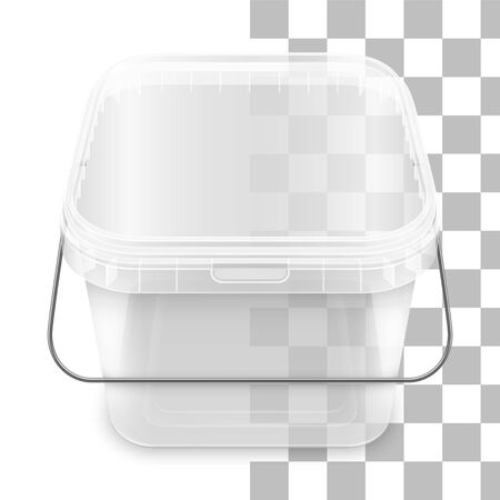 Transparent square empty plastic bucket with metallic handle  for storage of foodstuff, butter, paint or plaster. Ilustração